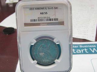 1853 Arrows & Rays 50c Au 55 photo