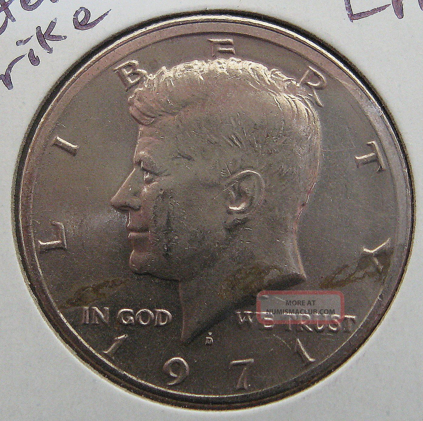 1971 D Kennedy Half Dollar Off Center Strike Error Rare Usa 50 Cent Coin