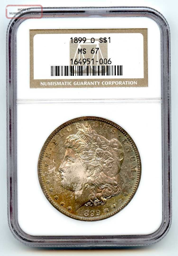 1899 O Ngc Ms67 Silver $1 Morgan Dollar Fabulous Toning Dollars photo
