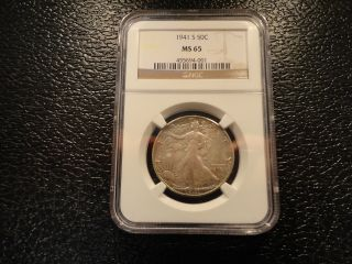 1941 - S Walking Liberty Half Dollar 50 Cents Ngc Ms - 65 - Offers photo