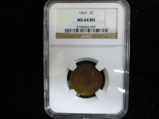1865 Two Cent Piece Ngc Ms64 Bn photo