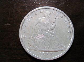1868 S Seated Liberty Half Dollar,  V - 4,  Au, photo