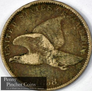 1858 Flying Eagle Cent Real Brown Mid - Grade Flying Eagle Cent photo