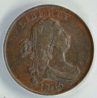1806 Small 6 No Stems Draped Bust Half Cent Almost Uncirculated photo