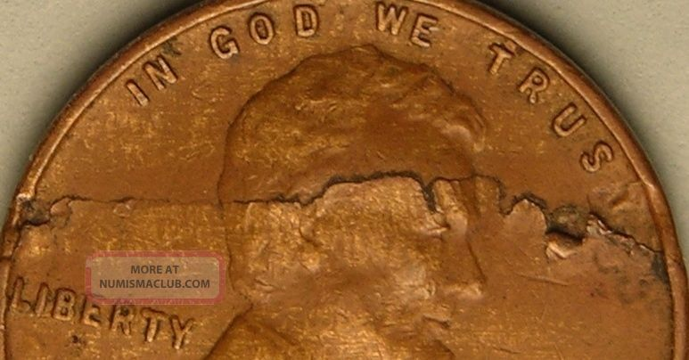 1940 P Lincoln Wheat Penny Cent Lamination Error Coin