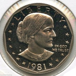 1981 - S Susan B.  Anthony Dollar Proof Coin - San Francisco - Kq633 photo