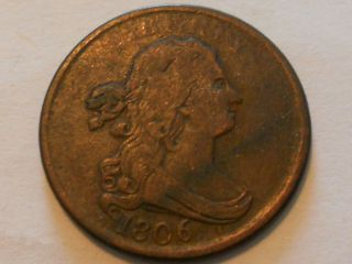 Coinhunters - 1806 Draped Bust Half Cent In Very Fine. photo