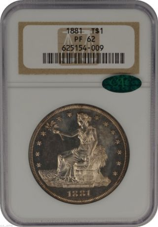 1881 $1 Silver Trade Dollar Ngc Pf62 Cac Flashy Proof photo