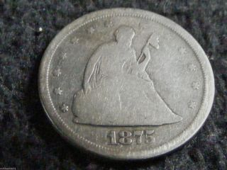 1875 S Seated Silver Liberty Twenty - 20 Cent Us Coin - Inv 365 - G Coin photo