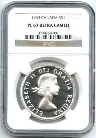 1963 Ngc Pl67 Ultra Cameo Canada $1 Silver Dollar Proof Like photo