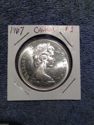 1967 Canada Unc Silver Dollar - 1967 $1 Silver Coin photo