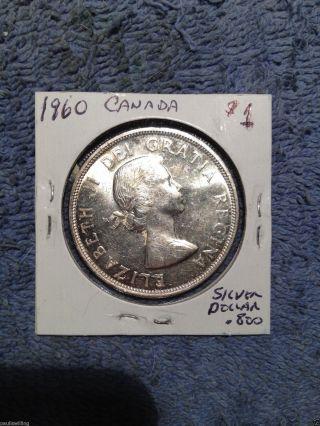 196o Canada Unc Silver Dollar - 1960$1 Canada Silver Coin photo