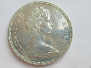 1965 Near Canadian Silver Dollar Coin (queen Elizabeth Ii) photo