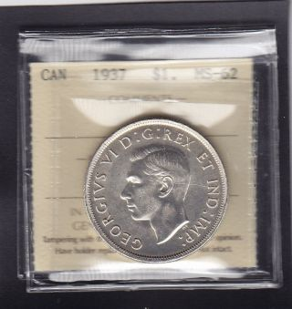 1937 Canada George Vi Silver Dollar Iccs Ms - 62 photo