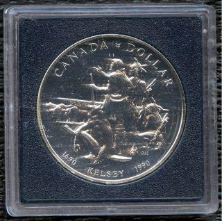 1990 Canada Uncirculated Silver Dollar Coin (23.  3 Grams.  500 Silver) No Tax photo