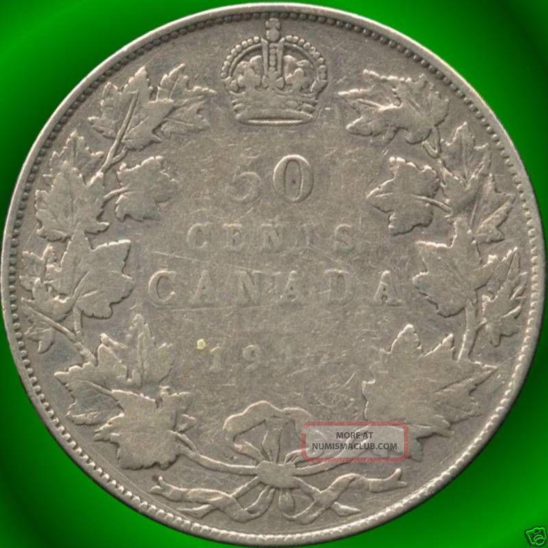 1917 Canada Silver 50 Cent Piece (11.  66 Grams.  925 Silver) (no Tax) Coins: Canada photo