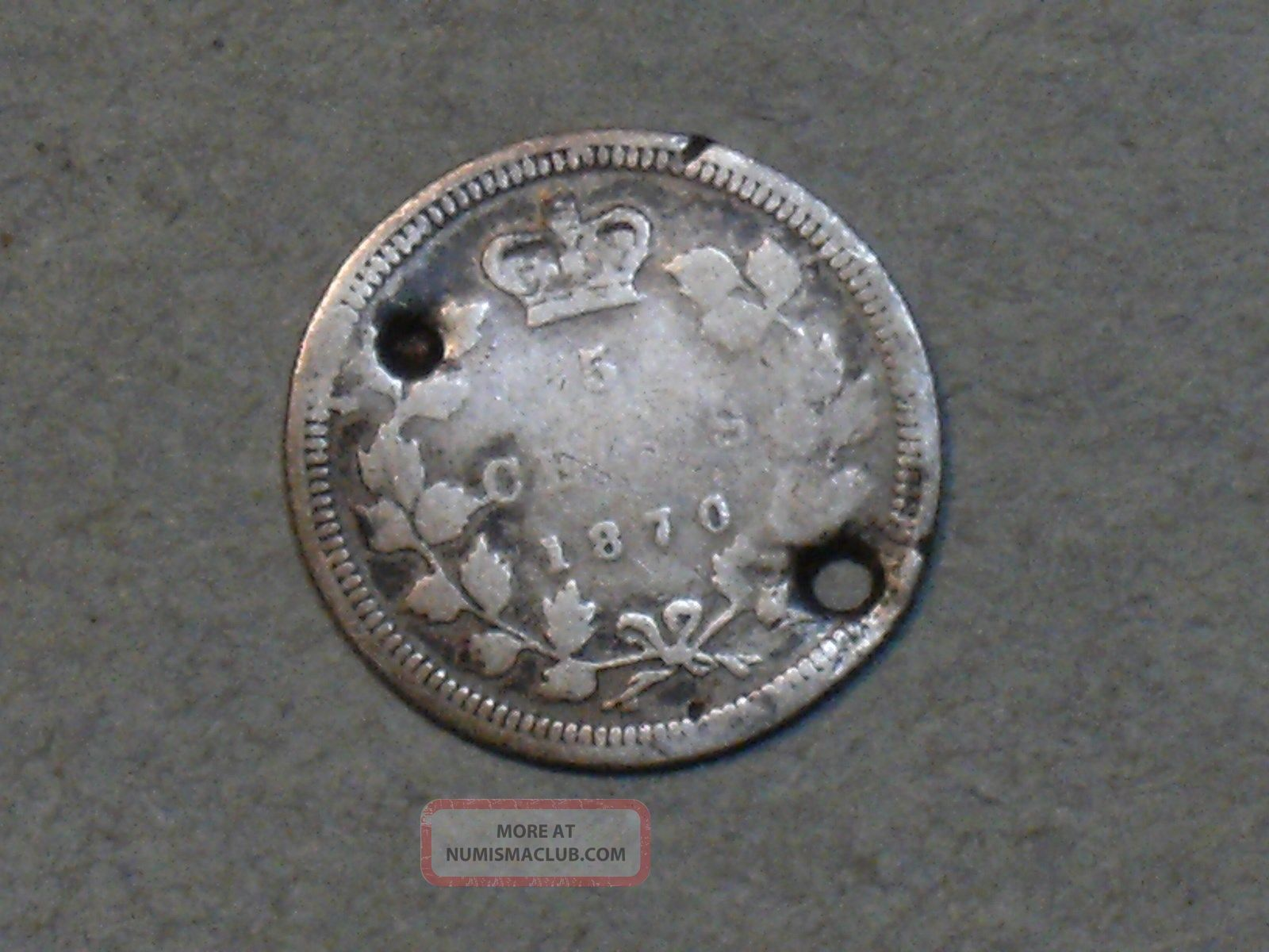 1870 Canadian Five Cent Silver Coin 3850a