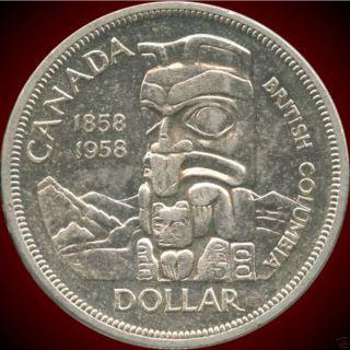 1958 Canada Silver Dollar (british Columbia ' S 100th) (23.  33 Grams.  800 Silver) photo