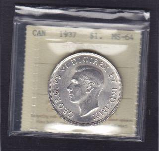 1937 Canada George Vi Silver Dollar Rare In Iccs Ms - 64 photo