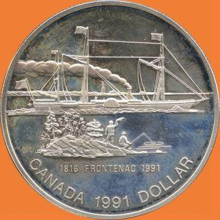 1991 Canada Silver Collector Dollar (frontenac) (23.  3 Grams.  500 Silver) No Tax photo