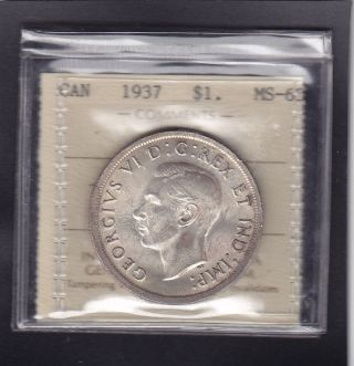 1937 Canada George Vi Silver Dollar Rare In Iccs Ms - 63 photo