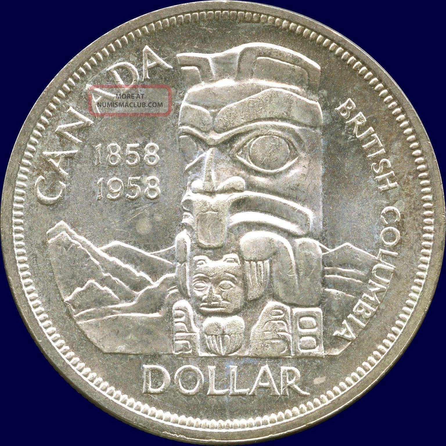 1958 Canada Silver Dollar British Columbia S 100th 23
