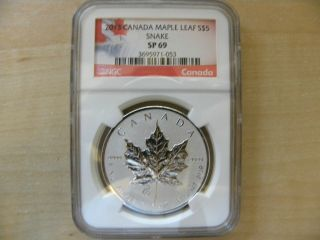 2013 Canada $5 Maple Leaf Snake Privy Coin,  Ngc Sp - 69,  Rcm photo