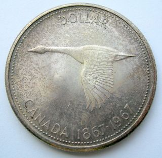 1967 Silver Dollar Ms - 60 Beautifully Toned Commemorative Goose Canada Unc $1.  00 photo