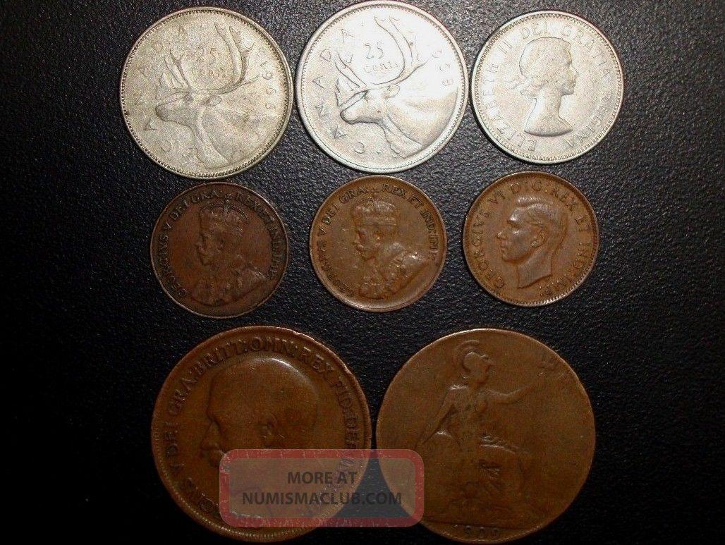 Canada Quarter 1966, 68, Small Cent Penny 1921, 36, 42
