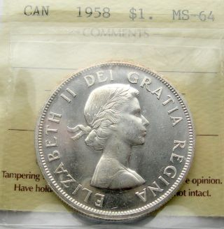 1958 Silver Dollar Iccs Ms - 64 Stunning Virtually Gem Bc Totem Pole Bu+ $1.  00 photo