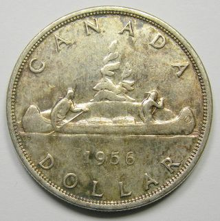 1956 Silver Dollar Au - 50 Scarce Date Low Mintage Undervalued Key Canada $1.  00 photo