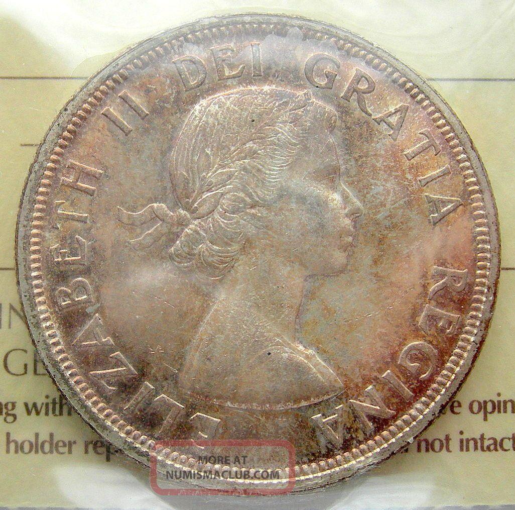 1954 Silver Dollar Iccs Ms 63 Bu Elizabeth Ii Canada 1 00