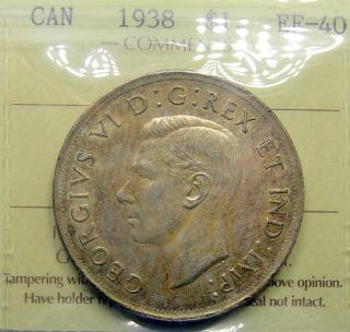 1938 Silver Dollar Iccs Ef - 40 Scarce Date Low Mintage Key George Vi Canada $1.  00 photo