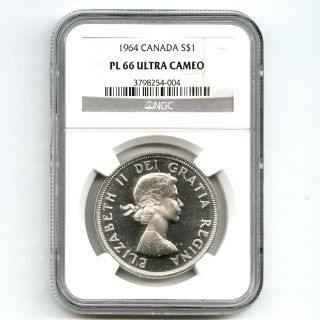 1964 Ngc Pl66 Ultra Cameo Canada $1 Silver Dollar Proof Like photo