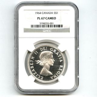 1964 Ngc Pl67 Cameo Canada $1 Silver Dollar Proof Like Tied For Finest Known photo