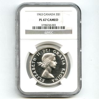 1963 Ngc Pl67 Cameo Canada $1 Silver Dollar Proof Like photo