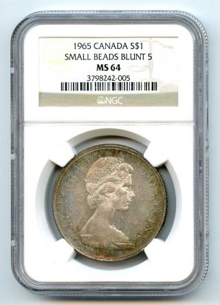 1965 Ngc Ms64 Canada $1 Silver Dollar Small Beads Blunt 5 Type 2 photo