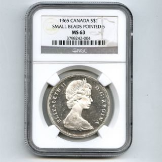 1965 Ngc Ms63 Canada $1 Silver Dollar Small Beads Pointed 5 Type 1 photo