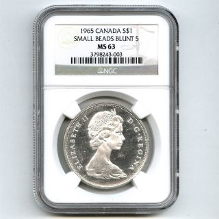 1965 Ngc Ms63 Canada $1 Silver Dollar Small Beads Blunt 5 Type 2 photo