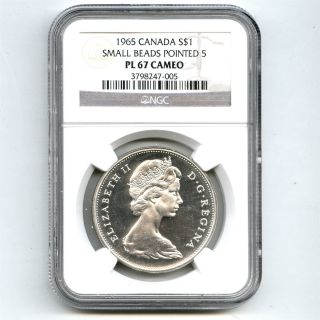 1965 Ngc Pl 67 Cameo Canada $1 Silver Dollar Small Beads Pointed 5 Type 1 photo