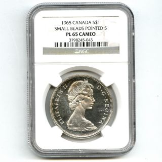 1965 Ngc Pl65 Cameo Canada $1 Silver Dollar Small Beads Pointed 5 Type 1 photo