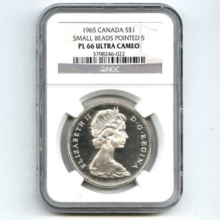 1965 Ngc Pl66 Ultra Cameo Canada $1 Silver Dollar Small Beads Pointed 5 Type 1 photo