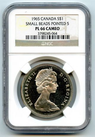 1965 Ngc Pl66 Cameo Canada $1 Silver Dollar Small Beads Pointed 5 Type 1 photo