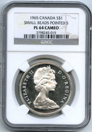 1965 Ngc Pl64 Cameo Canada $1 Silver Dollar Small Beads Pointed 5 Type 1 photo