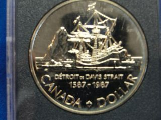 1987 Canada Silver Proof Dollar Detroitde Davis Strait 1587 - 1987 photo