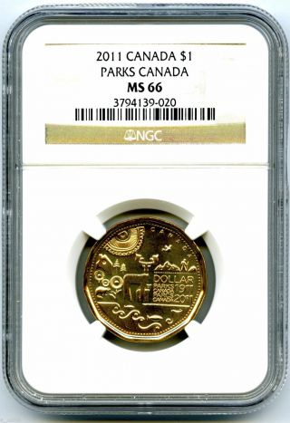 2011 Canada Parks Centennial Loon Loonie Dollar Ngc Ms66 Uncirculated Rare Pop photo