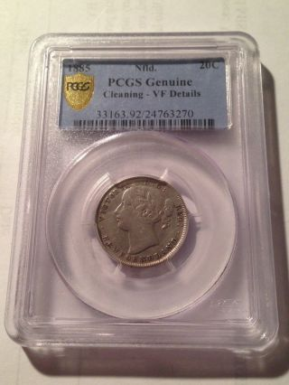 1885 Newfoundland 20 Cent Silver Pcgs Vf Details Low Mintage Tough Date G28 photo