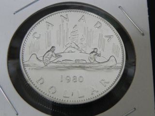 1980 Specimen Canadian Canada Voyageur Nickel One $1 Dollar photo