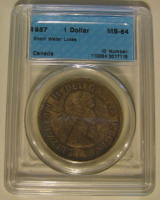 1957 Cccs Ms64 $1 Short Water Lines (swl) Canada One Dollar Silver photo