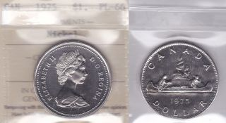 1975 Iccs Pl66 $1 (attached Jewel) Canada One Dollar Nickel photo